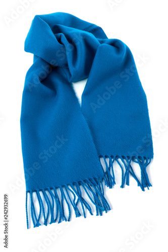 8c765553d28 Blue winter scarf isolated white background