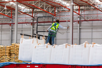 Construction worker wearing safety harness and safety line working on the truck of cargo in the warehouse for distribution ,import export business.