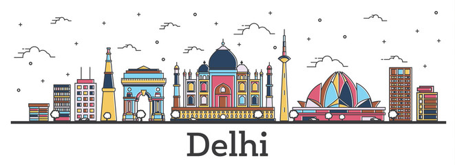 Outline Delhi India City Skyline with Color Buildings Isolated on White.