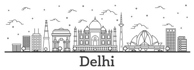 Outline Delhi India City Skyline with Historic Buildings Isolated on White.