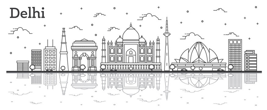 Outline Delhi India City Skyline with Historic Buildings and Reflections Isolated on White.