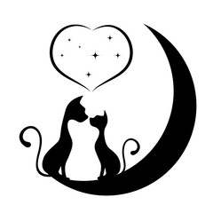 Romantic meeting of cats vector illustration.