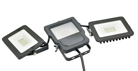 Outdoor Waterproof LED Floodlights Isolated On White