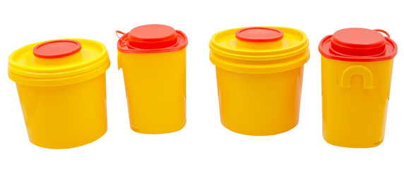 medical plastic containers over white