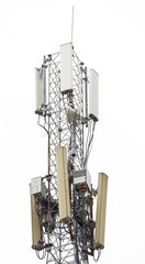 Tower with aerials of cellular on white
