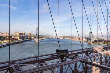 View from the Brooklyn Bridge on the Manhattan Bridge in New York, United States