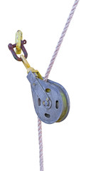 metallic pulley block and ropes on white