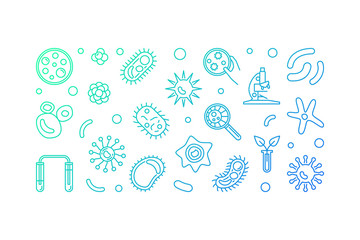 Microbiology vector creative horizontal illustration made with microscope, microbes and viruses outline concept icons on white background