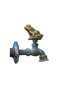 Old antique decorative copper faucet for drinking, washing feet and hands, for garden, isolated on white background