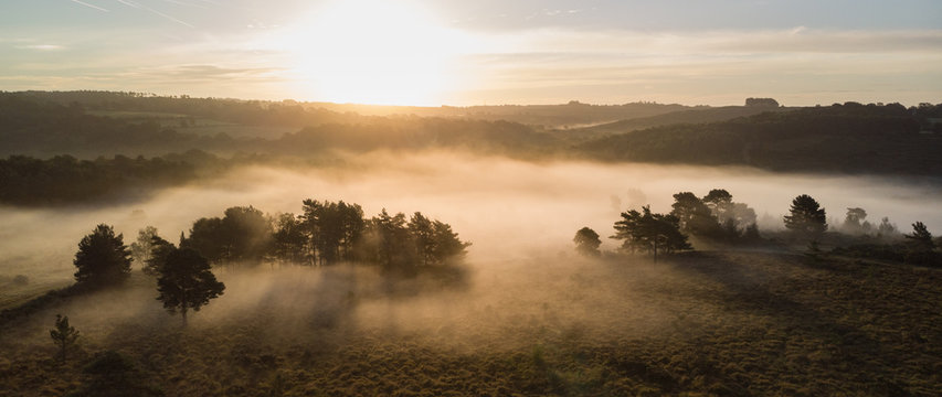 Beautiful sunrise image of drone aerial view of Autumn Fall forest scene landscape