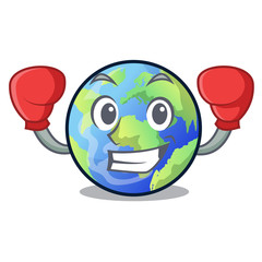 Boxing earth in the shape on character