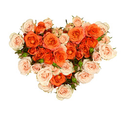 Orange and peach rose flowers in a heart shape bouquet