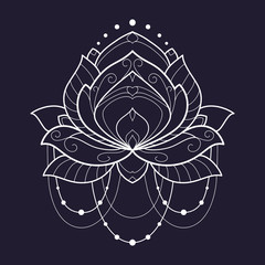 Lotus flower white geometrical vector illustration is isolated on a blue background. Symmetric decorative element with east motives for design