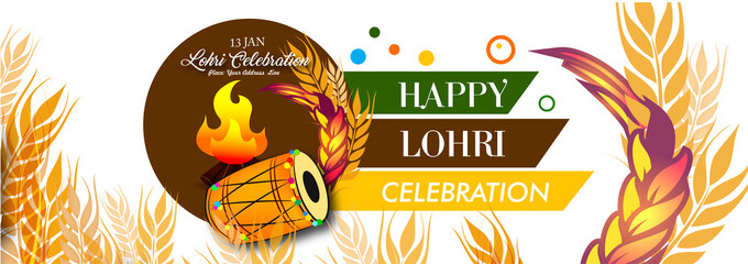 Punjabi festival of lohri celebrating punjabi guy with drum and bonfire  on beautiful abstract background with calligraphy.
