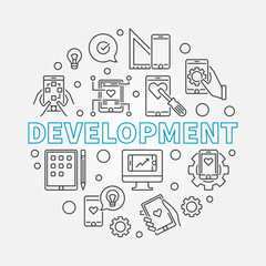 Development vector round concept business illustration in thin line style