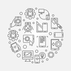 Mobile App Development vector round simple concept illustration in thin line style
