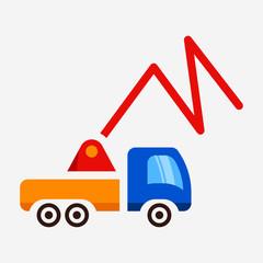 Flat concrete pump truck pixel perfect vector icon