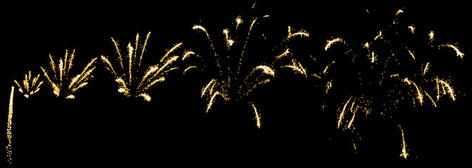 Consecutive firework, sequential pyrotechnics. Isolated vector illustration