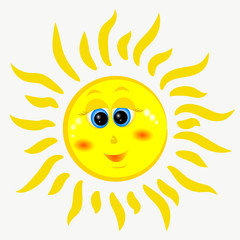 Cheerful, yellow and gentle sun. Vector illustration.