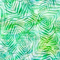 Poster Tropische Bladeren Seamless watercolor background from green tropical leaves, palm leaf, floral pattern. Bright Rapport for Paper, Textile, Wallpaper, design. Tropical leaves watercolor. Exotic tropical palm tree