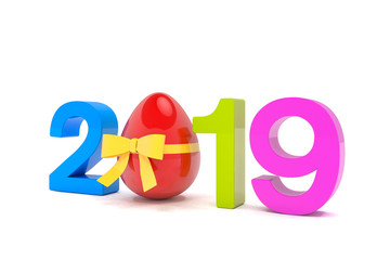 Frohe Ostern - Jahreszahl 2019 in bunt mit der Zahl Null als Osterei mit rotem Band, über weißem Hintergrund - Oster