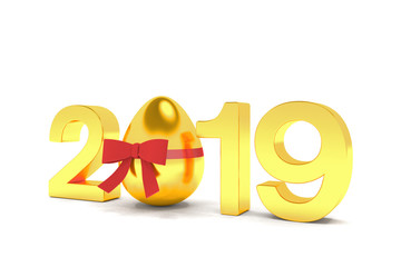 Frohe Ostern - Jahreszahl 2019 in Gold - Osterei mit rotem Band - Oster