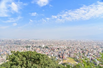 Aerial View of Kathmandu City with Blue Skies in Nepal