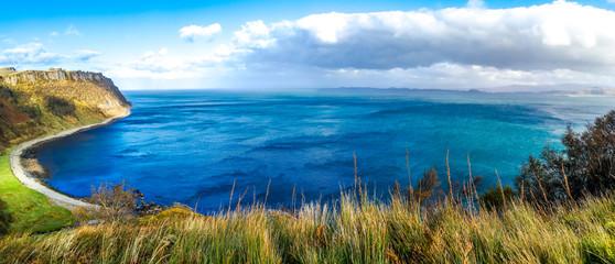 Steep sea cliffs at Bearreraig Bay - Isle of Skye , Scotland