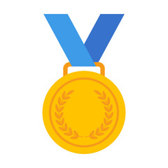 Yellow Gold medal with blue ribbon flat vector icon for sports apps and websites