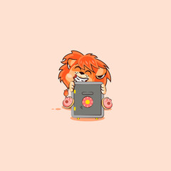 lion sticker emoticon hugs safe with money