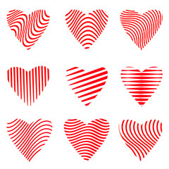 Vector set of heart designs set on white background