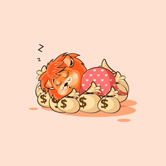 lion sticker emoticon sleeps on bags money
