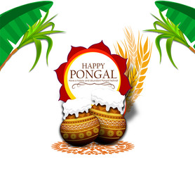 Happy Pongal celebrations banner or poster design with religious offerings and traditional pot on orange background