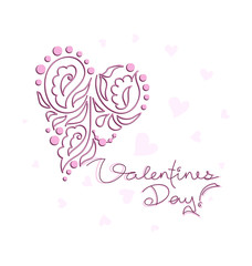 Valentine's Day. Decorated heart. Lettering. Greeting. Pink lilac tone. Design for greetings, cards, posters, banners.