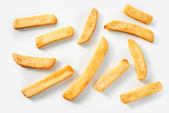 Homemade French fries on a white background