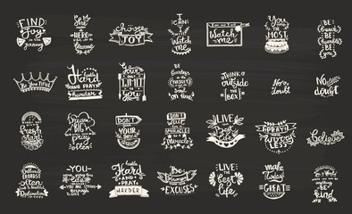 Vector Chalkboard phrase handwriting calligraphy. Black and white engraved ink art. solated quotes illustration element.