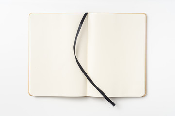 Top view of kraft paper notebook, page, bookmark