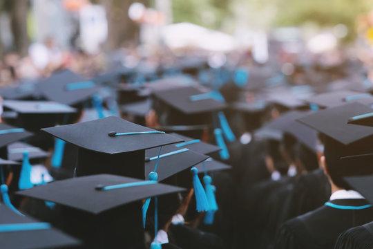 backside graduation hats during commencement success graduates of the university, Concept education congratulation. Graduation Ceremony ,Congratulated the graduates in University during commencement.