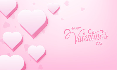 Happy valentine's day poster or greeting card design decorated with heart shapes.