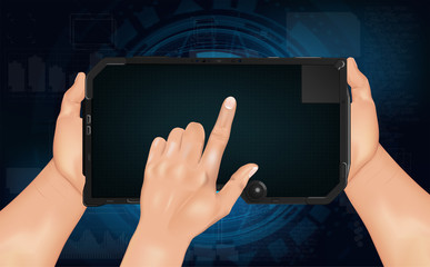 Hi tech tablet, template. Futuristic digital tablet with hands, template. Vector illustration
