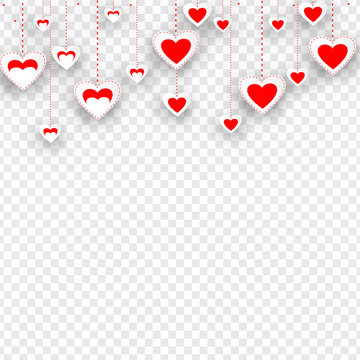Sticker style heart shapes hanging on transparent background. Love banner or template design.