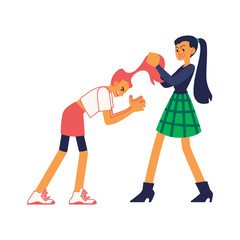 Vector teen girls students fighting pulling each others hair out. Female violence on street or in school concept. Isolated illustration