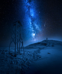 Milky way over a man in Tatras in winter