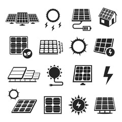 Solar panels technology, black and white icon set