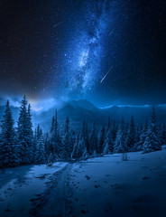 Tatras Mountains in winter at night and falling stars