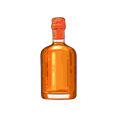 Vector whiskey scotch glass bottle sketch icon. No label bottle for bourbon, rum alcohol product advertising design. Restaurant, cafe drink menu design element. Isolated illustration