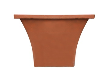 Terracotta clay pot isolated on white background