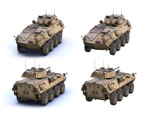 Set of 3d-renders of light armored vehicle LAV-25