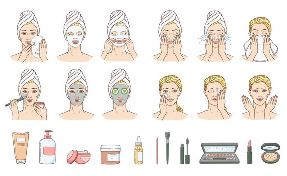 Vector woman stages of applying facial mask and cleaning wace after make-up set. Face skin treatment, therapy and accessories collection. Young woman with towel and spa salon. Cosmetic skincare