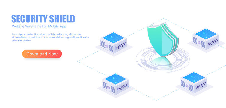 Online server protection system . 3D isometric illustration of security shield server for data protection concept landing page or web template design.
